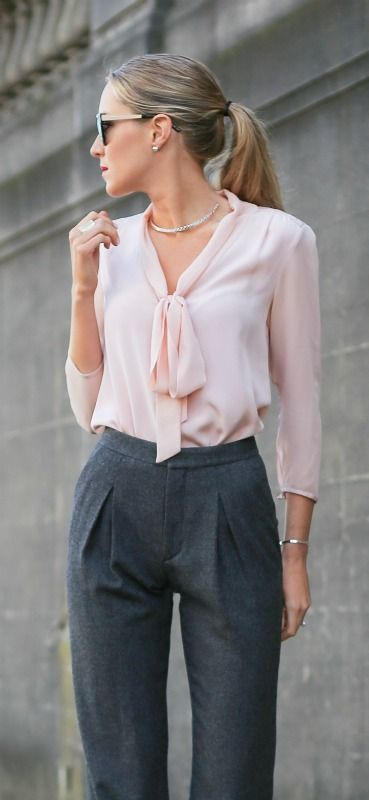 blush pink tie bow neck blouse, high-waisted pleated grey wool pants + silver choker