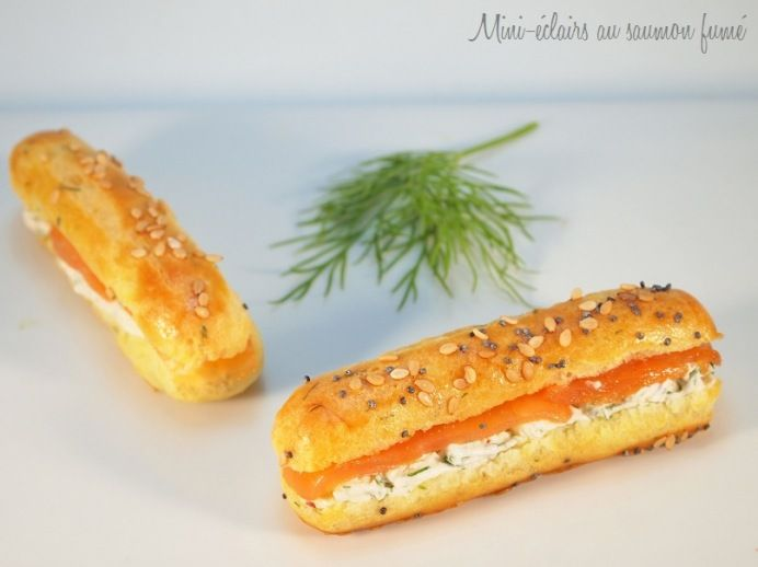 Mini-éclairs au saumon fumé. Smokedsalmon in puff pastry w/ herb cheese These look so fantastic unfortunately the recipe is in French, but it is basically very fresh bakery rolls, cream cheese (or you can use already herbed soft cheese ) mixed w/ herbs and a little butter on roll ( it's French) and Lox or cold cooked salmon or smoked salmon wld be gd too ;)