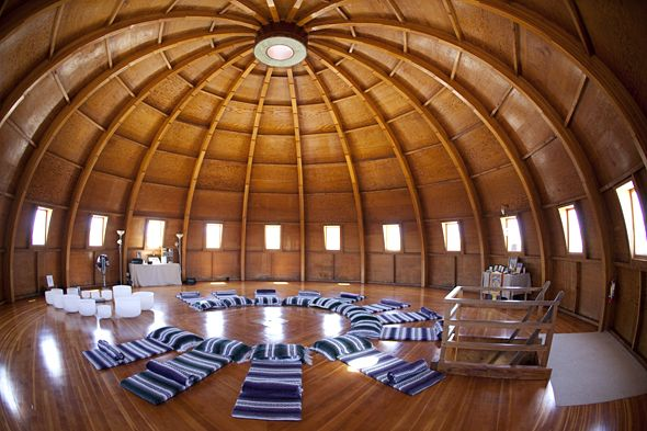 """Touching the Sound in Joshua Tree: Rejuvenate at The Integratron, the only all-wood, acoustically perfect sound chamber in the USA. Built in 1978 on a """"magnetic vortex"""", a sonic chamber within the Integratron provides the venue for """"sound baths"""" that are said to rejuvenate recipients. The Integratron is a place for meditating, playing music, & sound bathing with quartz bowls in the Joshua Tree area, California USA."""
