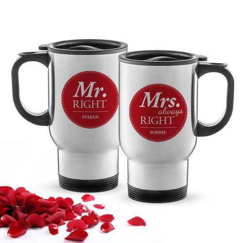 Das personalisierte Thermobecher Set Mr & Mrs Right ist das ideale Geschenk für Pärchen, die gemeinsam unterwegs ein Heißgetränk genießen wollen.