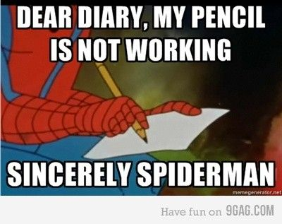 . daily-lols: Spiders Men, Memes, Books Jackets,  Dust Jackets, Funny Pictures, Dear Diaries, Spiderman,  Dust Covers,  Dust Wrappers