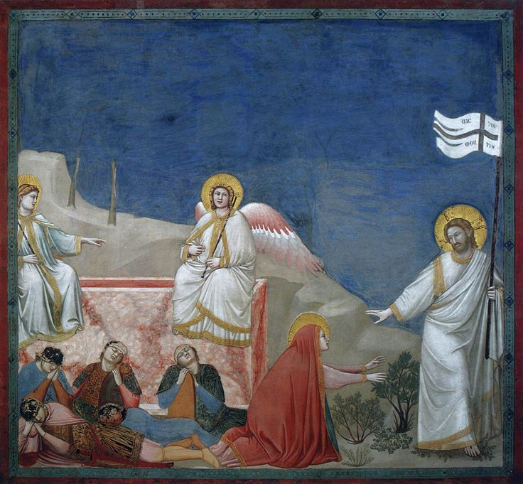 Giotto di Bondone, Scenes from the Life of Christ: 21. Resurrection (Noli me tangere) 1304-06 Cappella Scrovegni, Padua