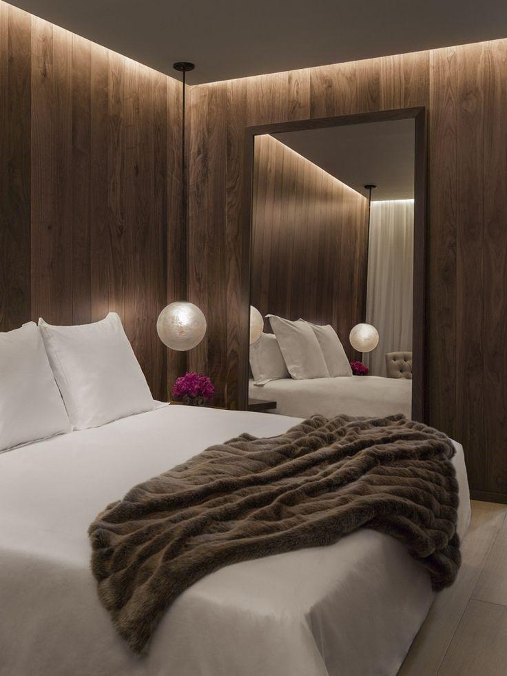 Hotel   The London Edition Hotel Room   Timber-Look Cladding   Soft Pelmet Lighting   Oversized Mirror
