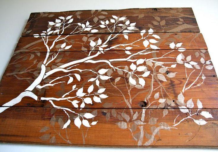 Diy tutorial diy wood crafts diy barn wood and branches for Wood plank art ideas