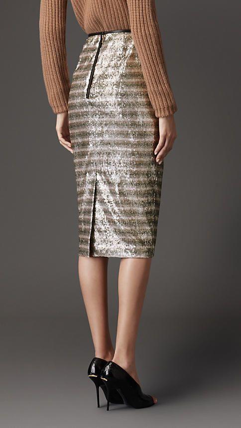 Falda de tubo a rayas con lentejuelas | Burberry