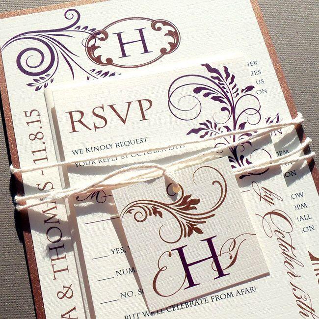 Vineyard Modern Swirls Wedding Invitation Set - Fall Leaves, Fall Wedding, Autumn Bronze, Wedding Invites - Sample or Deposit by dearemma on Etsy https://www.etsy.com/listing/188046160/vineyard-modern-swirls-wedding