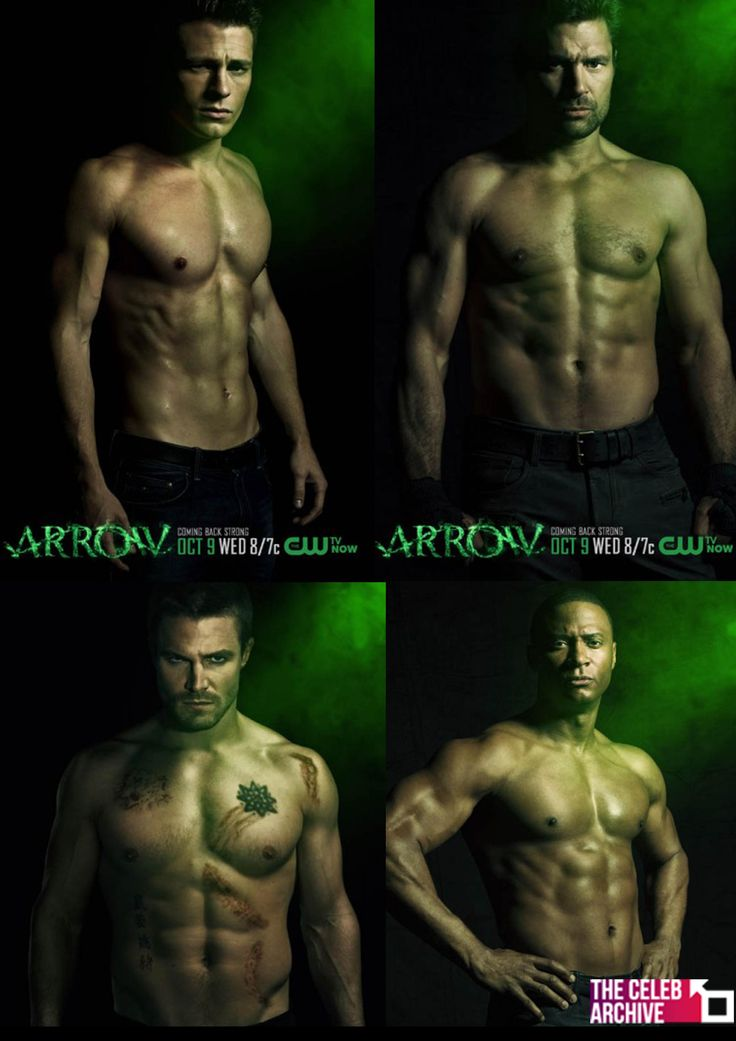 "Arrow returns to the CW for its second season next month, and the CW has released a new group of posters to promote the new season—and these posters feature the men of Arrow, shirtless.  Colton Haynes, Manu Bennett, Stephen Amell & David Ramsey all show off their abs, and each poster reads ""Coming Back Strong.""!   Who has the best body?  Join us on www.thecelebarchive.net"