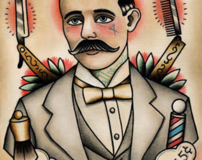 Impresión del arte tradicional peluquería tatuada tatuaje