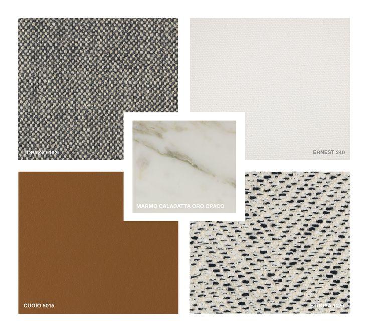 Marble: Calacatta Oro matt Hide Leather: Cuoio 5015 Fabrics: Topazio 993, Ernest 340, Etiopia 1126