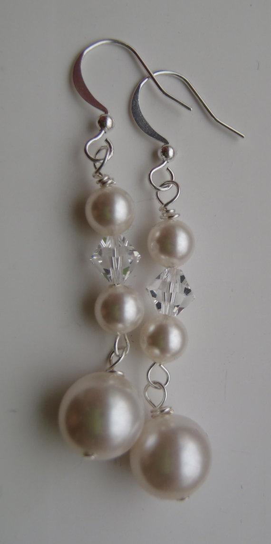 Bridal Earrings - Swarovski Pearl and Crystal