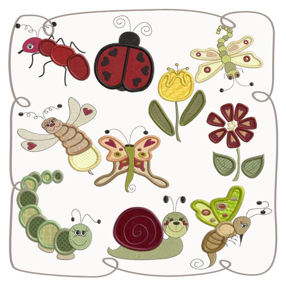 Beautiful Bugs Applique Machine Embroidery Design Pattern-INSTANT DOWNLOAD
