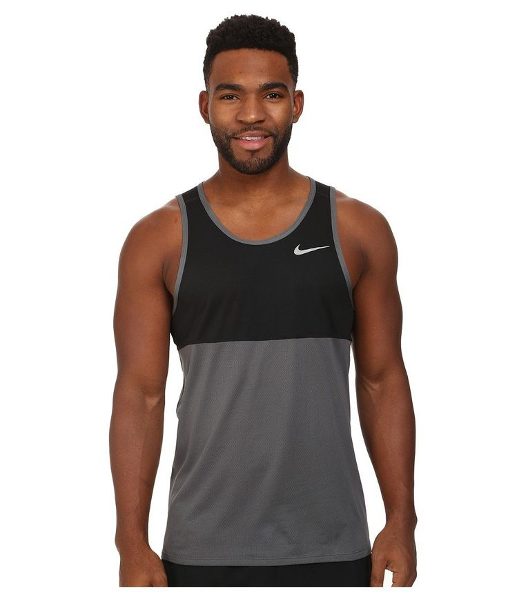 Men's Nike Racer Singlet Tank Great for speedy and warm runs, this singlet has Dri-FIT fabric that wicks sweat away and extra ventilation for optimal cooling and airflow. A drop hem adds extra coverage, and a Swoosh design trademark is on the left chest. 100% recycled polyester.