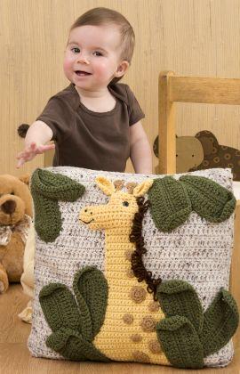 Giraffe Pillow Free Crochet Pattern from Red Heart Yarns