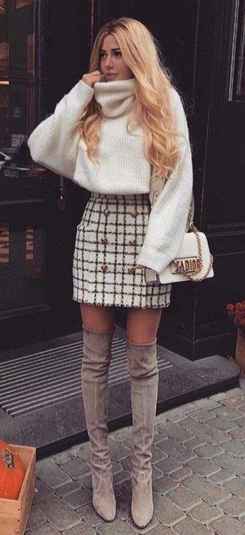 Beste Fall-Outfit-Idee mit einem Tweed-Rock – #beste #einem #FallOutfitIdee #mit…