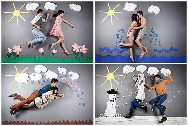 """Collage aus professionellen Paarfotos zum Thema """"Die Vier Jahreszeiten"""" © Berliner Fotostudio LUMENTIS"""