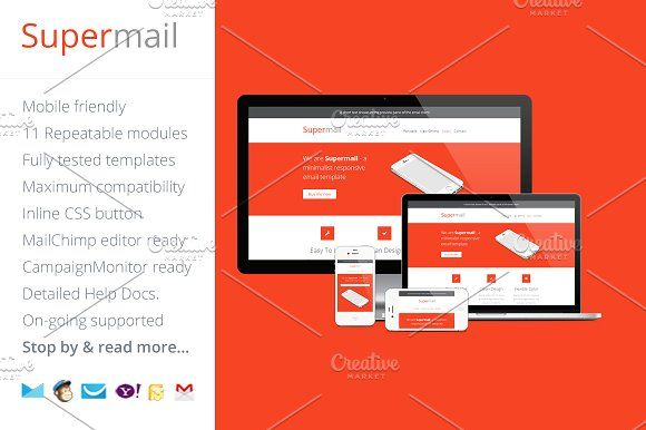 Supermail Responsive Email Template By Emailtemplates Rocks On