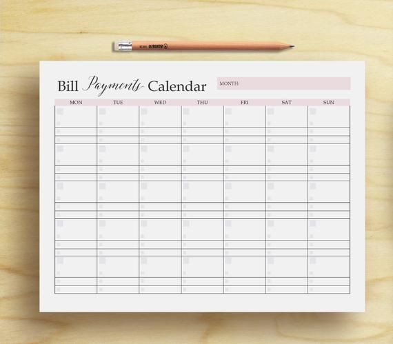 Bill Payments Calendar Bill Tracker Personal Finance Printable