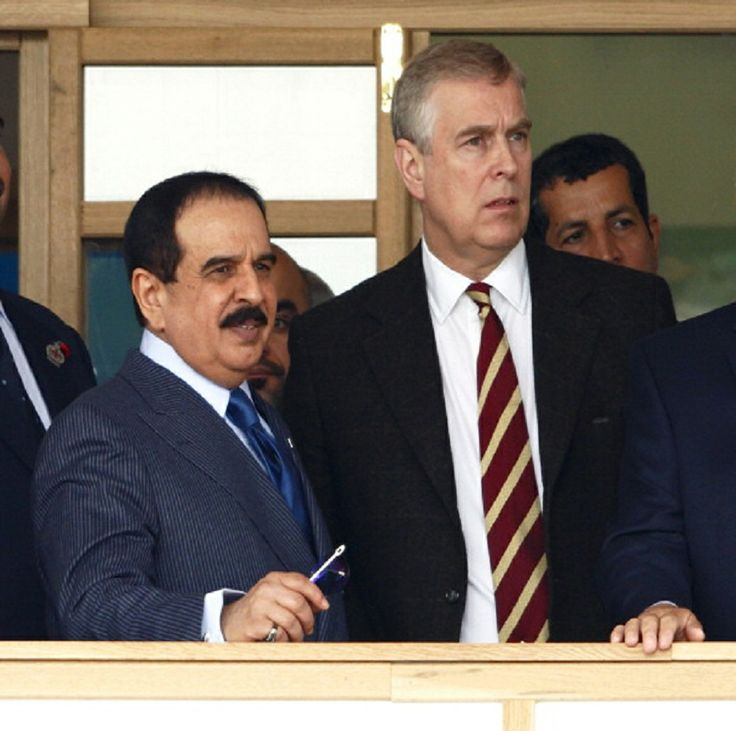 L Hamad Bin Isa Al Khalifa King Of Bahrain Talks With Prince Andrew Duke York As They Attend The Royal Windsor Horse Show At Home Park In