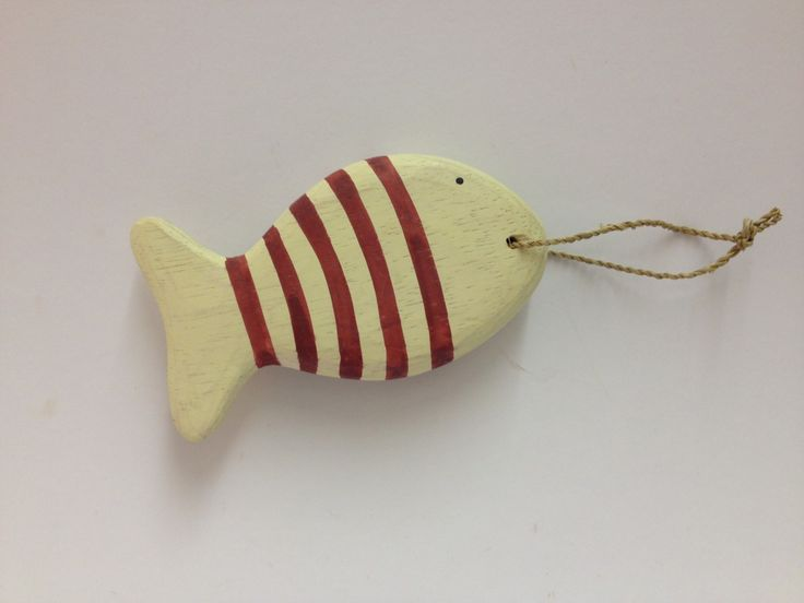 East of India Hanging Fish £5.99 Carved wooden East of India hanging striped Shabby chic fish in red and cream. Hangs by twisted string Perfect to add to a nautical theme for you home: Approx Dimensions: H: 5.7cm x W: 10cm x D: 1cm