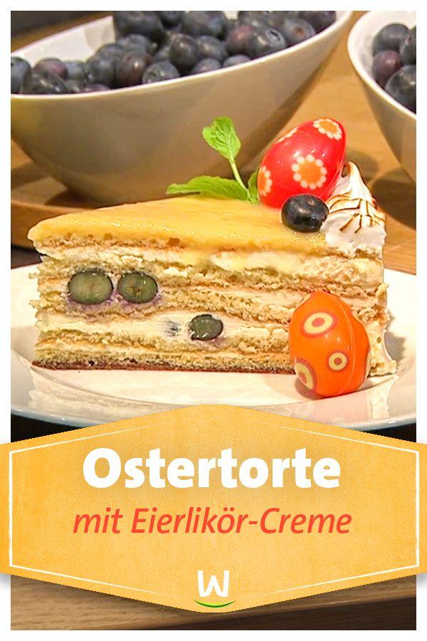 Wir In Bayern Rezepte Ostertorte Mit Eierlikor Creme Und Heidelbeeren Br De Torten Creme Fur Torten Ostern Kuchen