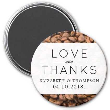 #Thank You - Roasted Arabica Coffee Beans - Brown Magnet - #WeddingMagnets #Wedding #Magnets Wedding Magnets