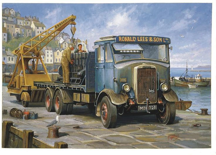 painting For Sale Painting - Leyland Hippo At Brixham. by Mike Jeffries