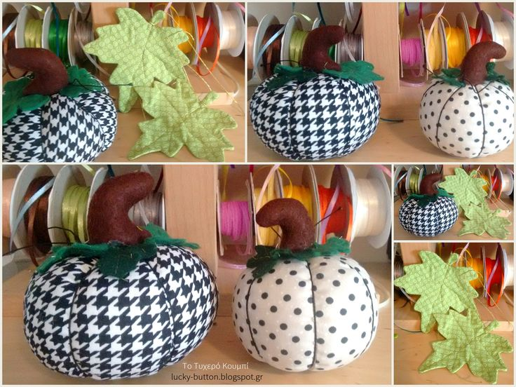 Halloween,Pumpkin, Pin Cushion, black & White