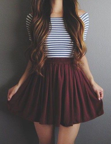 #street #style burgundy + stripes
