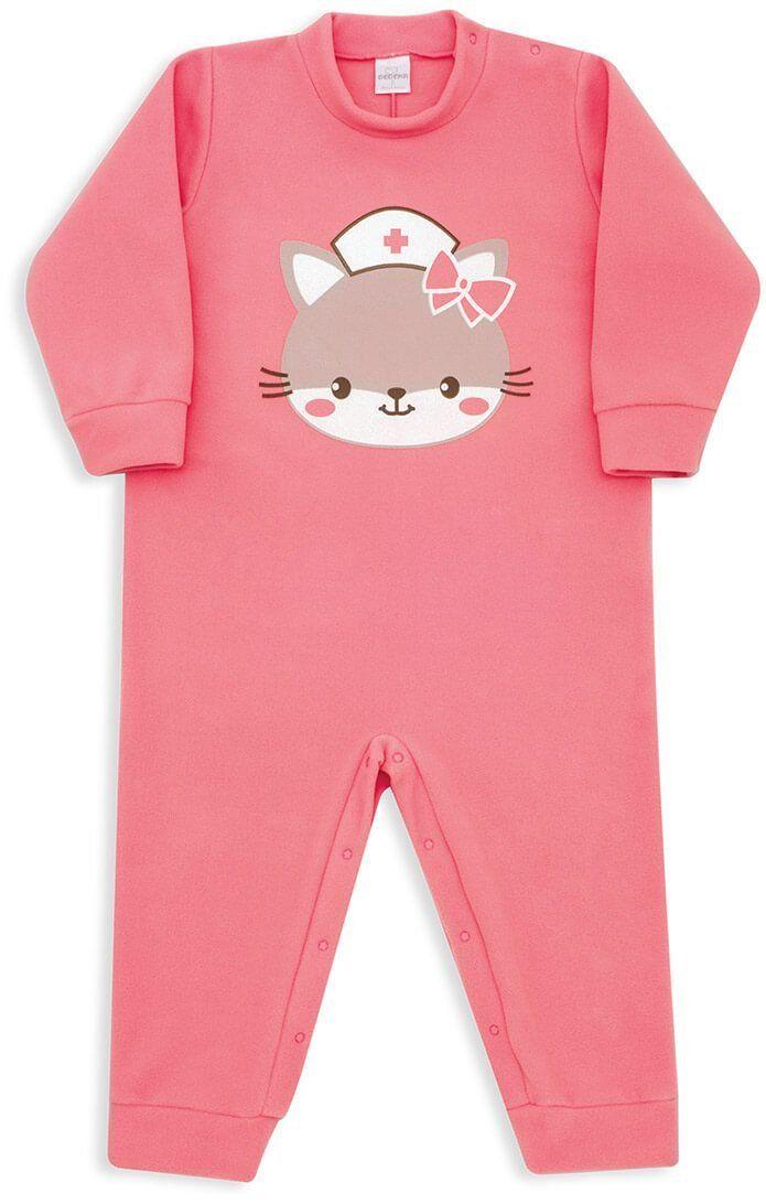436be09ddc16f2 Macacão Pijama Infantil Dedeka Soft Coral Gatinha Enfermeira ...