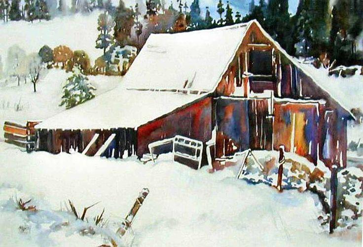 Watercolor barn - simply beautiful!