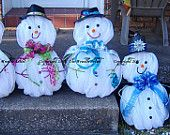 Snowman Wreath, Christmas Wreath, Deco Mesh Snowman, Frosty the Snowman, How to Make a Snowman from Deco Mesh PHOTO GUIDE. $10.00, via Etsy.