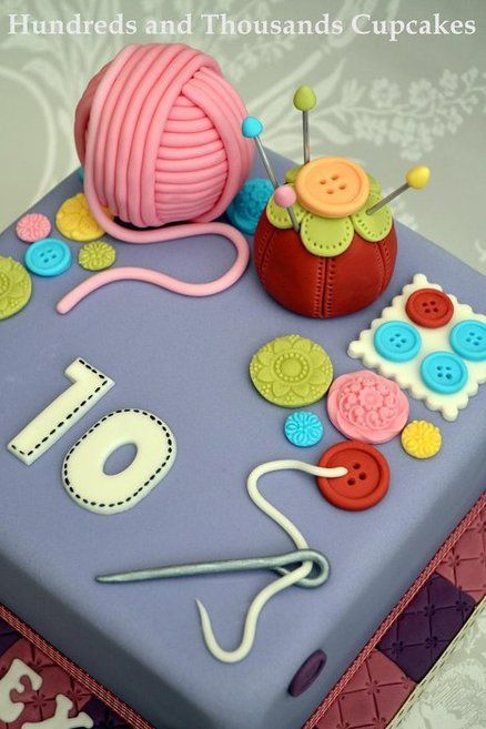 Sewing Inspired cake - by Hundreds and Thousands Cupcakes @ CakesDecor.com - cake decorating website