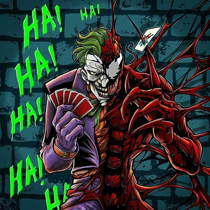 Today is one of those days that I love to look back to some amazing fan art work  Who do you think is more evil ???? Joker is evil in a genius way  Carnage is well full rampage and destruction without a a meaning ...................... Remember to follow  @venomousgirls   #carnage #joker #mashup #dccomics #comicbooks #comicbooks #geeklife by mcg_venom
