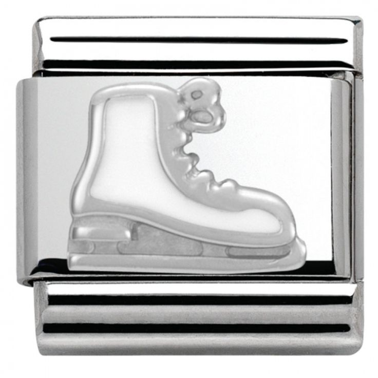 Christmas white Ice Skate Link in enamel #nominationitaly #link #composable