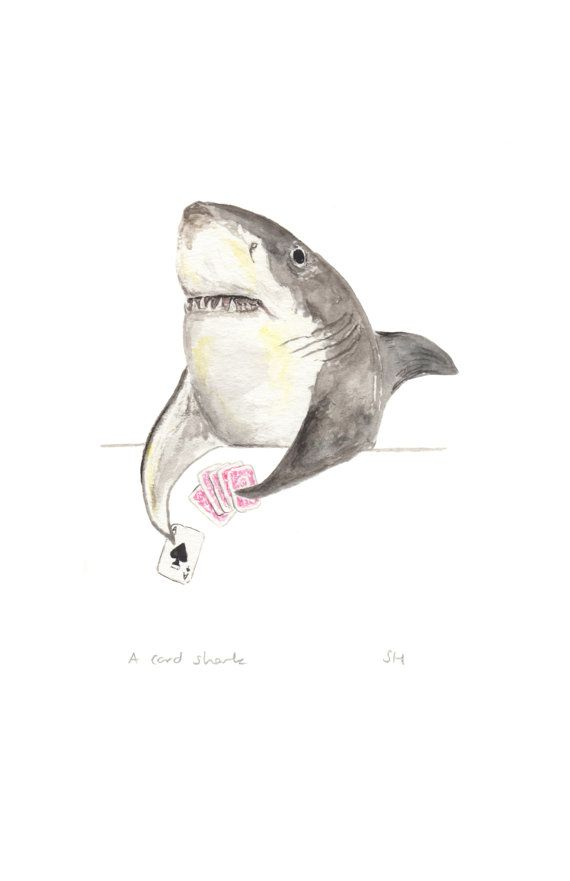 A card shark watercolour painting print, great white shark painting, shark art…