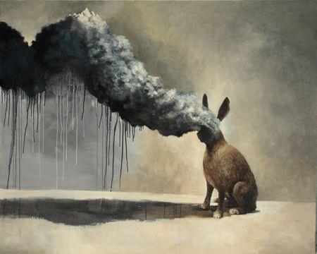 Visual artist Samuli Heimonen BURNING HEAD. Acrylic and oil on canvas. 2011