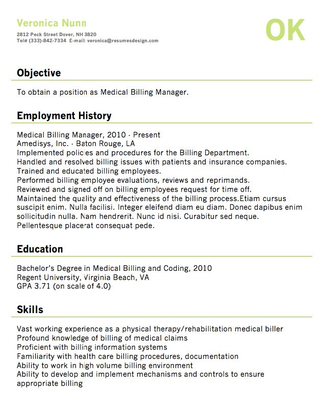 12 best Resume images on Pinterest Sample resume, Medical - sample medical billing resume