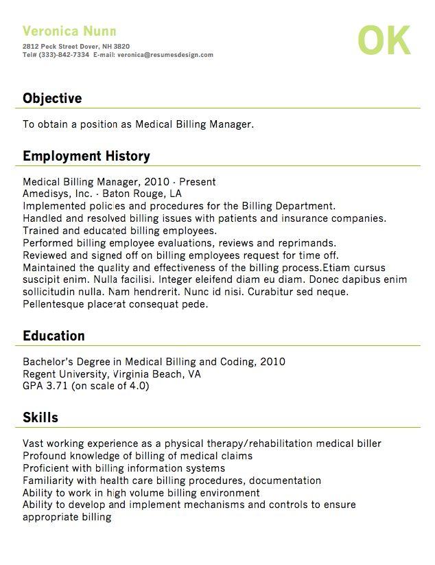 Sample Medical Billing Resume - http://resumesdesign.com/sample-medical-billing-resume/