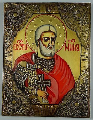 Saint Mina st Menas Gold Embossed hand painted Eastern Orthodox Byzantine Russian Icon