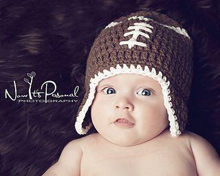 Crochet Hat PATTERN - Baby Football Earflap Hat Crochet Pattern - Instant
