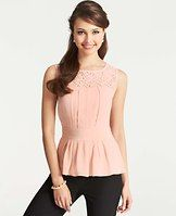 Lace Yoke Silk Top - Pretty pleats: with gorgeous front and back lace detail and a waist-cinching silhouette, this party-perfect number is the epitome of sheer romance. Jewel neck. Sleeveless. Front and back lace yoke. Pleated waistband. Hidden side zipper.