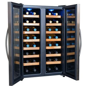 NewAir AW-321ED 32 Bottle Dual Zone Thermoelectric Wine Cooler, Stainless Steel