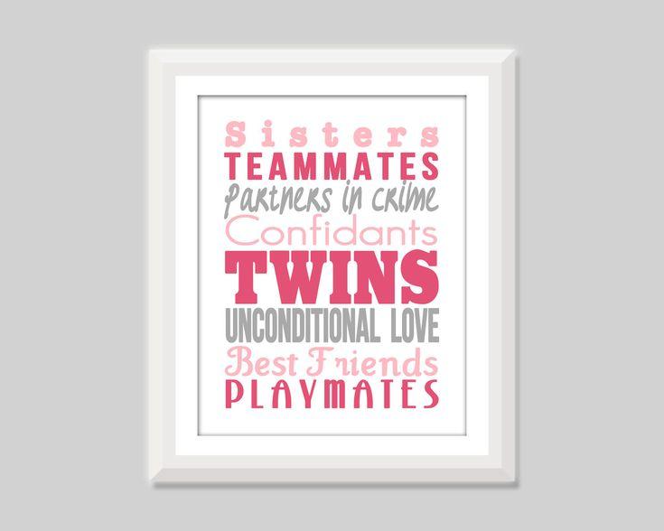 Twin Girl Nursery Art Twin Sisters Print Twin by SweetPapelDesigns, $15.00