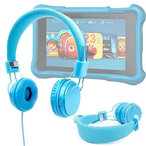"""Ultra-Stylish Kids Headphones with Microphone in Blue - Compatible with the Amazon Fire HD Kids Edition Tablet 6"""" - by DURAGADGET #Ultra #Stylish #Kids #Headphones #with #Microphone #Blue #Compatible #Amazon #Fire #Edition #Tablet #DURAGADGET"""