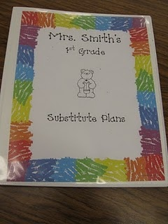 The most important thing in the tub is the substitute binder. The tabs in my binder are:  Welcome letter (this letter welcomes the substitute and lists helpful people and students)  Class list   Schedule (these are the main pages the sub will refer to)  Lesson Plans (these are detailed plans for things like math and writing)  School Procedures (lunch room procedure, map of the school, important contacts, fire drill)  Class Procedures (sharpening pencils, bathroom, transitions)  Behavior…