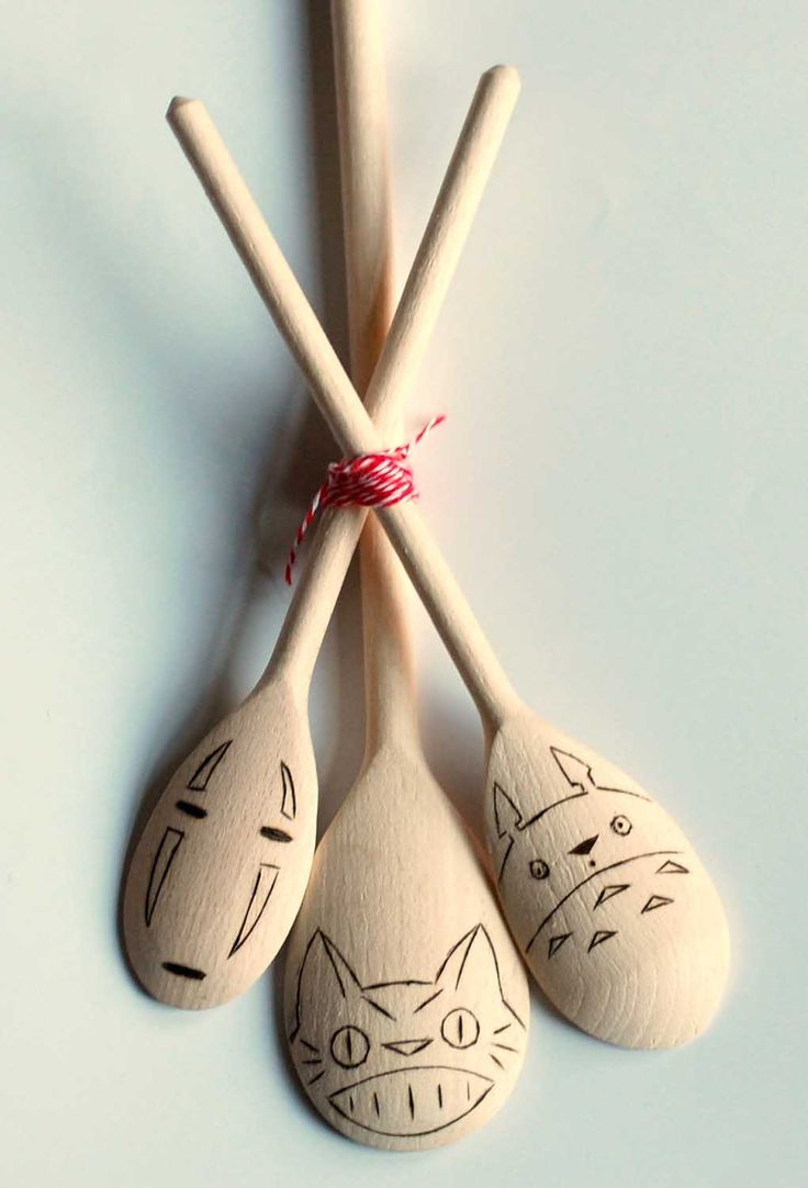 Studio Ghibli Wooden Spoons. Adorable. Guys I want these for my wedding gifts