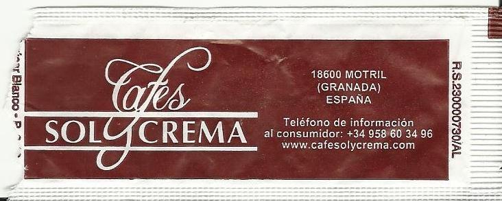 Anverso Cafés Solycrema.