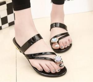Crystal Leather Cross Strap Sandals