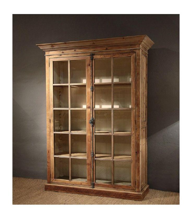 vitrina expositor de madera con puertas de cristal y estantes