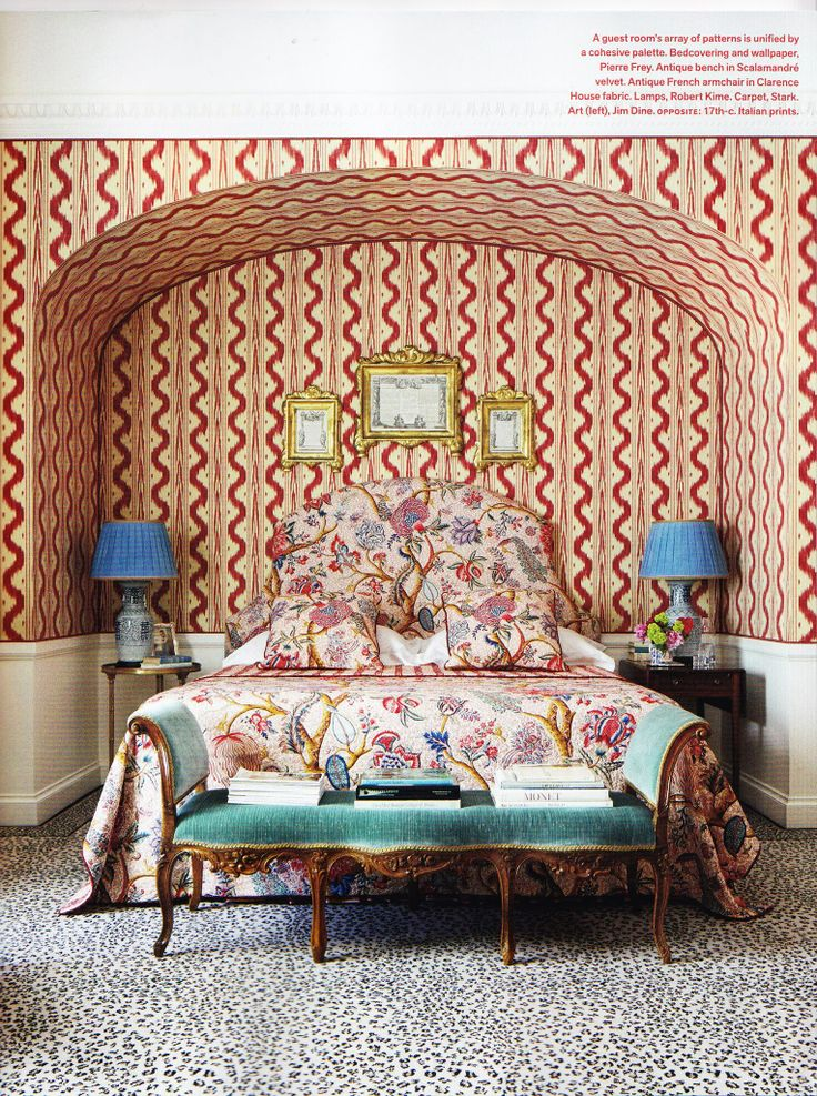 Pierre Frey Toiles de Nantes walls, Le Grand Corail on the bed & Stark Leopard Carpet. via Veranda Jan 2014